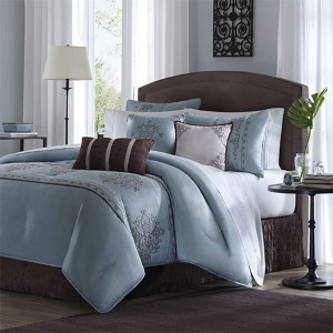 Brussel Blue Seven-Piece Queen Comforter Set