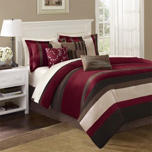 Boulder Stripe Red Seven-Piece Queen Comforter Set