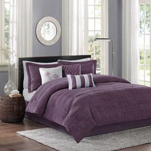 Hampton Purple Seven-Piece Queen Comforter Set