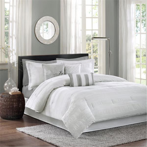 Hampton White Seven-Piece Queen Comforter Set