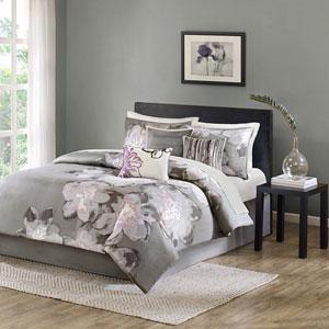 Serena Gray Seven-Piece Queen Comforter Set