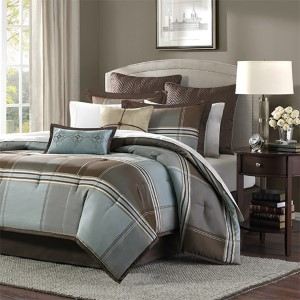 Lincoln Square Blue Eight-Piece Queen Comforter Set