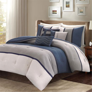 Palisades Blue Seven-Piece Queen Comforter Set
