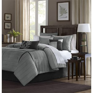 Connell Grey Seven-Piece Queen Comforter Set