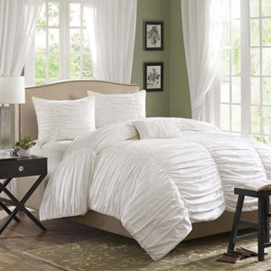 Delancey White Four-Piece King Comforter Set