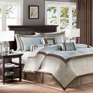 Genevieve Blue Seven-Piece Queen Comforter Set
