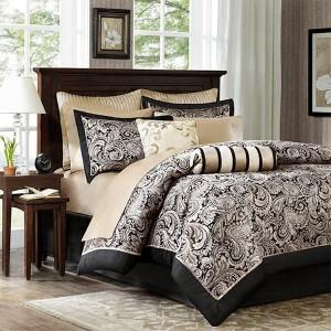 Aubrey Black 12-Piece Queen Comforter Set