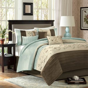 Serene Blue Seven-Piece Queen Comforter Set