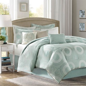 Baxter Blue Seven-Piece Queen Comforter Set