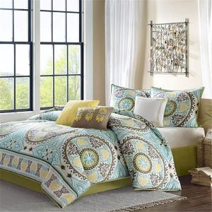 Samara Blue Seven-Piece King Comforter Set