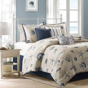 Bayside Blue Seven-Piece Queen Comforter Set