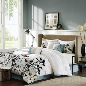 Matilda Blue Seven-Piece Queen Comforter Set