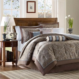 Aubrey Blue and Brown 12-Piece Full Comforter Set