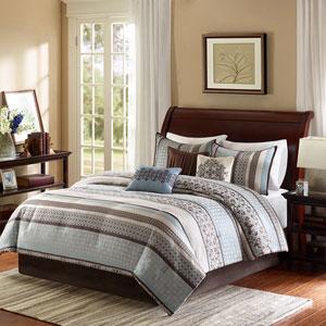 Princeton Blue Seven-Piece Queen Comforter Set