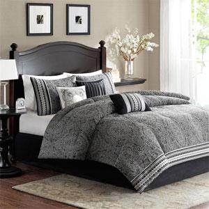 Barton Black Seven-Piece Queen Comforter Set
