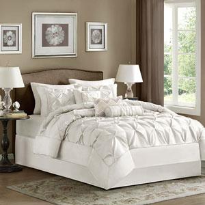 Laurel White Seven Piece Queen Comforter Set