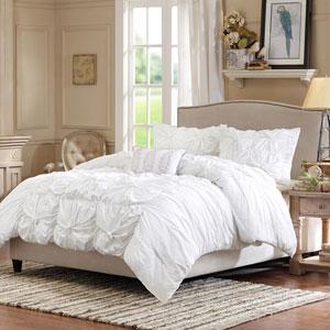 Harlow White Four-Piece Full/Queen Comforter Set