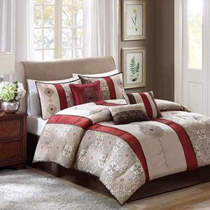 Donovan Red Seven-Piece Queen Comforter Set