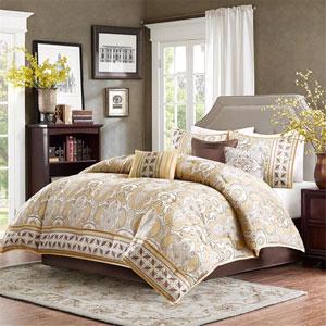 Chapman Gold Seven-Piece Queen Comforter Set