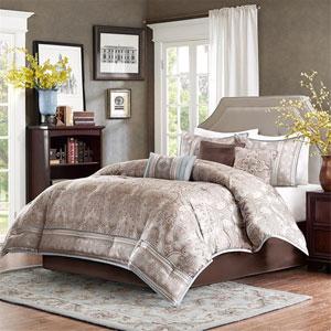 Chapman Taupe Seven-Piece Queen Comforter Set
