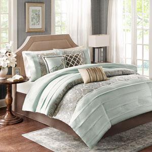 Bryant Blue Seven-Piece Queen Comforter Set