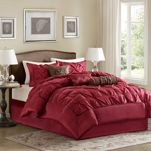 Laurel Red Seven-Piece Queen Comforter Set