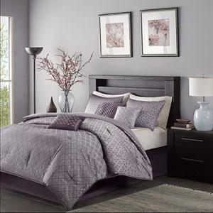 Biloxi Purple Seven-Piece Queen Comforter Set