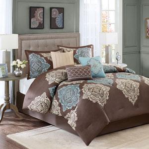 Monroe Brown Seven-Piece Queen Comforter Set