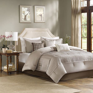 Trinity Taupe Seven-Piece King Comforter Set