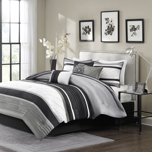 Blaire Gray Seven-Piece Queen Comforter Set