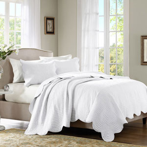Tuscany White Three-Piece Queen Coverlet Set