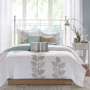 Caelie Blue Six-Piece Queen Coverlet Set
