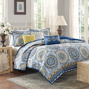 Tangiers Blue Six-Piece Queen Coverlet Set