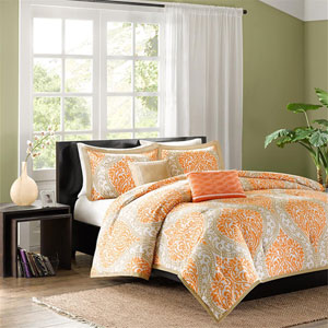 Senna Orange Four-Piece Twin/Twin XL Comforter Set