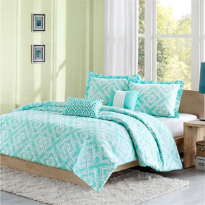 Laurent Teal Four-Piece Twin/Twin XL Comforter Set