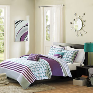 Halo Purple Four-Piece Twin/Twin XL Comforter Set