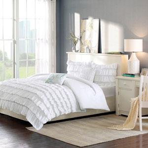 Waterfall White Four-Piece Twin/Twin XL Comforter Set