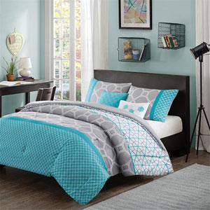Clara Gray and Blue Four-Piece Twin/Twin XL Comforter Set