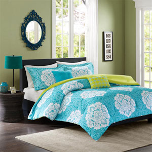 Tanya Blue Four-Piece Twin/Twin XL Comforter Set