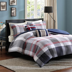 Caleb Gray and Blue Four-Piece Twin/Twin XL Comforter Set