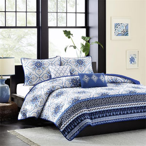 Cassy Blue Four-Piece Twin/Twin XL Coverlet Set