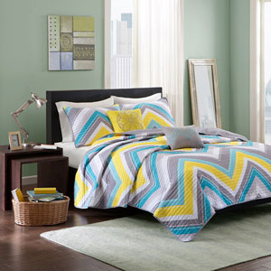Elise Blue Four-Piece Twin/Twin XL Coverlet Set