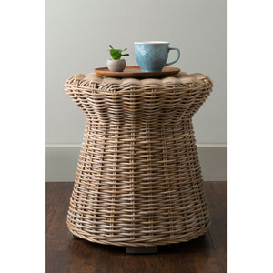Akiman Brown Round Rattan Accent Table