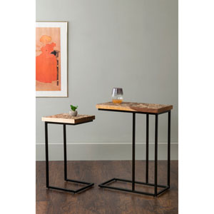 Beloit Brown Rectangular Coconut Shell Accent Table