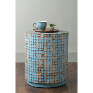 Brillion Blue Round Coconut Shell Accent Table