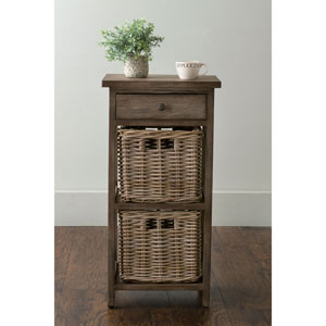 Burnside Brown Square Rattan Accent Table