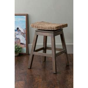 Canton Brown Square Rattan Counter Stool