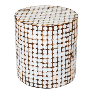 Columbia White Coconut Shell Inlay Round Accent Table