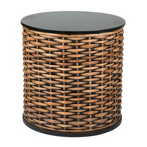 Concord Brown Rattan Round Accent Table