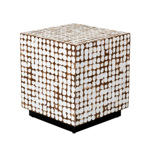 Covington White Coconut Shell Inlay Square Accent Table